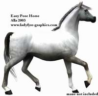Easy Pose Horse for Poser 4 and 5. Includes eye props with corneas, exclusive morphs and realistic grey horse texture.