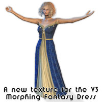 Another new freebie download texture for the V3 Morphing Fantasy Dress for use in Poser and Daz|Studio