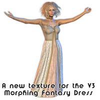 A new free download texture for the V3 Morphing Fantasy Dress for use in Poser and Daz|Studio